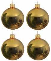 16x glazen kerstballen glans goud 10 cm kerstboom versiering decoratie