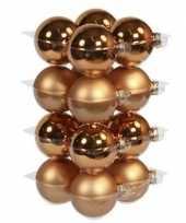 16x glazen kerstballen mat en glans koper 8 cm