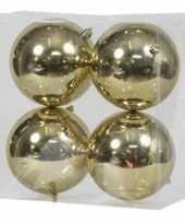 16x kunststof kerstballen glanzend goud 12 cm kerstboom versiering decoratie