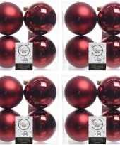 16x kunststof kerstballen glanzend mat donkerrood 10 cm kerstboom versiering decoratie