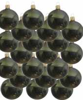 18x glazen kerstballen glans donkergroen 6 cm kerstboom versiering decoratie