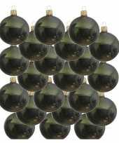18x glazen kerstballen glans donkergroen 8 cm kerstboom versiering decoratie