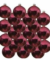 18x glazen kerstballen glans fuchsia roze 8 cm kerstboom versiering decoratie