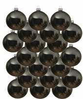 18x glazen kerstballen glans grijsblauw 8 cm kerstboom versiering decoratie