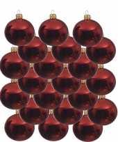 18x glazen kerstballen glans kerst rood 8 cm kerstboom versiering decoratie