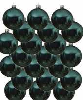 18x glazen kerstballen glans turkoois blauw 8 cm kerstboom versiering decoratie