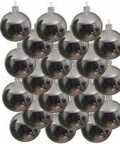 18x glazen kerstballen glans zilver 6 cm kerstboom versiering decoratie