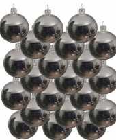 18x glazen kerstballen glans zilver 8 cm kerstboom versiering decoratie