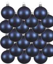 18x glazen kerstballen mat donkerblauw 6 cm kerstboom versiering decoratie
