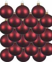 18x glazen kerstballen mat donkerrood 8 cm kerstboom versiering decoratie