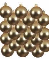18x glazen kerstballen mat goud 6 cm kerstboom versiering decoratie