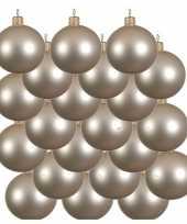 18x glazen kerstballen mat licht parel champagne 8 cm kerstboom versiering decoratie