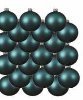 18x glazen kerstballen mat turquoise blauw 6 cm kerstboom versiering decoratie