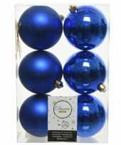 18x kunststof kerstballen glanzend mat kobalt blauw 8 cm kerstboom versiering decoratie