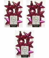 18x kunststof sterren kerstballen glans mat glitter bessen roze 7 cm kerstboom versiering decoratie