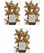 18x kunststof sterren kerstballen glans mat glitter camel bruin 7 cm kerstboom versiering decoratie