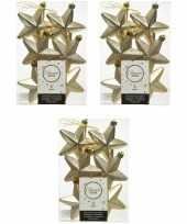 18x kunststof sterren kerstballen glans mat glitter champagne 7 cm kerstboom versiering decoratie