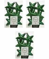 18x kunststof sterren kerstballen glans mat glitter kerst groen 7 cm kerstboom versiering decoratie