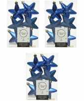 18x kunststof sterren kerstballen glans mat glitter kobalt blauw 7 cm kerstboom versiering decoratie
