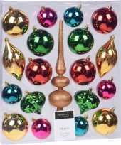 19 delige kerstballenset met gekleurde kerstversiering en piek