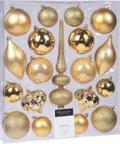 19 delige kerstballenset met gouden kerstversiering en piek