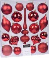 19 delige kerstballenset met rode kerstversiering en piek