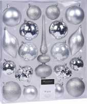 19 delige kerstballenset met zilveren kerstversiering en piek