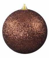 1x bruine grote decoratie kerstballen met glitter kunststof 25 cm