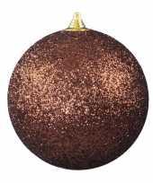 1x bruine grote kerstballen met glitter kunststof 18 cm