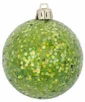 1x groene kerstballen met glitters 8 cm