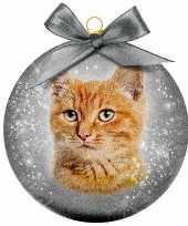 1x huisdieren kerstballen met rode katers katten poezen 8 cm
