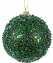 1x kerstballen donkergroene glitters 8 cm met glimmers kunststof kerstboom versiering decoratie