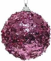 1x kerstballen fuchsia roze 8 cm met glimmende folie kunststof kerstboom versiering decoratie