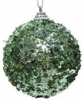 1x kerstballen mintgroen 8 cm met glimmende folie kunststof kerstboom versiering decoratie
