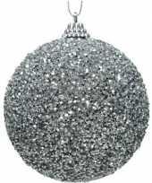 1x kerstballen zilveren glitters 8 cm met kralen kunststof kerstboom versiering decoratie