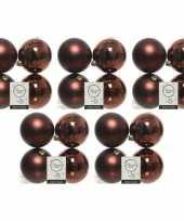 20x kunststof kerstballen glanzend mat mahonie bruin 10 cm kerstboom versiering decoratie