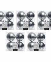 20x kunststof kerstballen glanzend mat zilver 10 cm kerstboom versiering decoratie 10176418