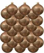 24x glazen kerstballen glans donker parel champagne 8 cm kerstboom versiering decoratie
