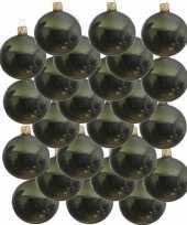 24x glazen kerstballen glans donkergroen 8 cm kerstboom versiering decoratie