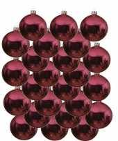 24x glazen kerstballen glans fuchsia roze 8 cm kerstboom versiering decoratie