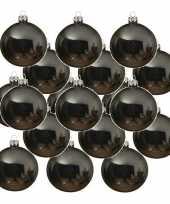 24x glazen kerstballen glans grijsblauw 6 cm kerstboom versiering decoratie