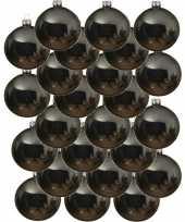 24x glazen kerstballen glans grijsblauw 8 cm kerstboom versiering decoratie
