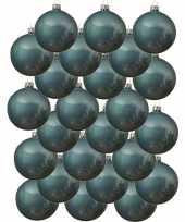 24x glazen kerstballen glans ijsblauw 8 cm kerstboom versiering decoratie