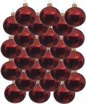 24x glazen kerstballen glans kerst rood 8 cm kerstboom versiering decoratie
