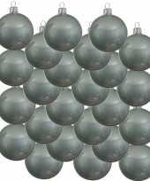 24x glazen kerstballen glans mintgroen 8 cm kerstboom versiering decoratie
