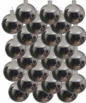 24x glazen kerstballen glans zilver 8 cm kerstboom versiering decoratie
