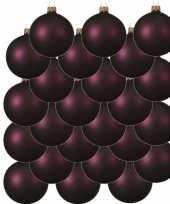 24x glazen kerstballen mat aubergine paars 8 cm kerstboom versiering decoratie