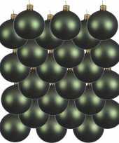24x glazen kerstballen mat donkergroen 6 cm kerstboom versiering decoratie