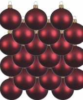 24x glazen kerstballen mat donkerrood 8 cm kerstboom versiering decoratie