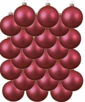 24x glazen kerstballen mat fuchsia roze 8 cm kerstboom versiering decoratie